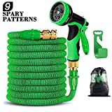 50FT Flexible Expandable Garden Hose with 9 Spray Patterns, Upgraded Retractable Water Hose