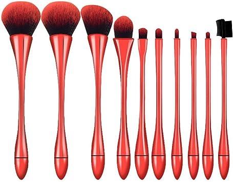 De Brochas de Maquillaje, 10pcs Pinceles Profesional con Estuche Brocha de Base de Maquillaje Colorete Contour Máscara, Paletas de Sombras de Ojos (Rojo): Amazon.es: Belleza
