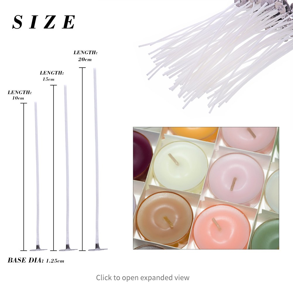 8in Low Smoke Miracle Wand 100 Piece Natural Candle Wick Pre-Waxed /& 100/% Natural Cotton Core,For Candle Making,Candle DIY 4, 6,8