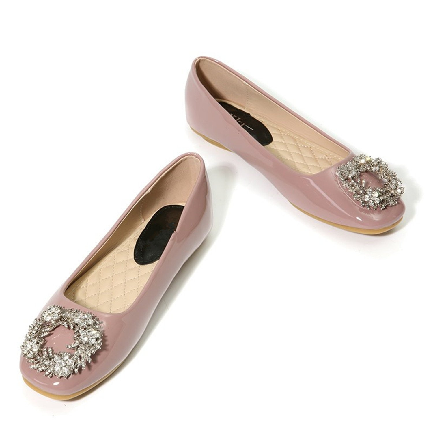 Beverly Stewart Women Ballet Flats Red/Pink/Beige Crystal Flowers Patent Leather Flat Shoes Ladies Rhinestone Square Toe Slip On Shoes B075R2ZK2P 6.5 B(M) US|Pink