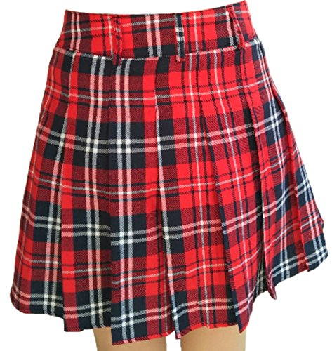 PEPU Women`s check Pleated School Skirt Japanese Asian Costume (XL, Red plaid skirt) (Belly Dance Costumes For Teenagers)