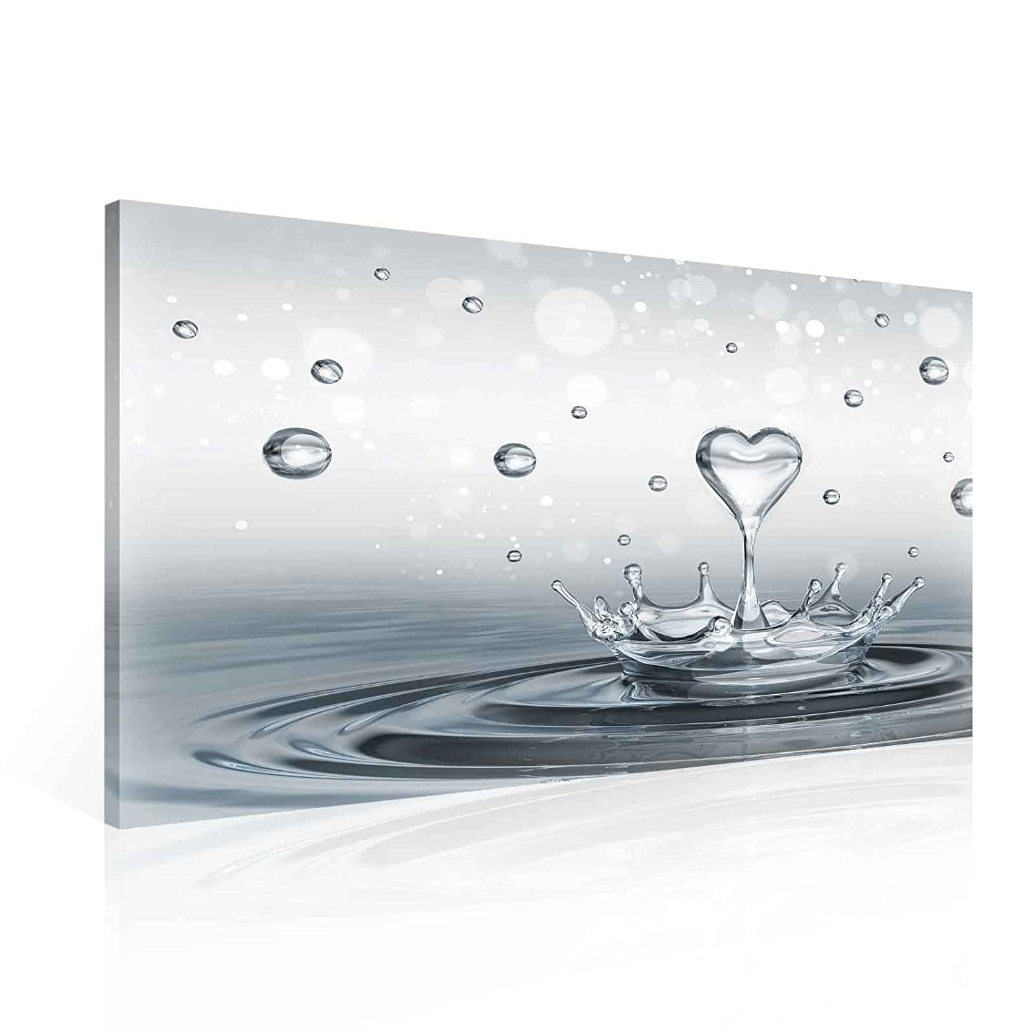 Drops Heart Water Canvas Print - Photo Print - O1 - 100cm x 75cm - Premium 260gsm Canvas, Hand-Finished, Solid MDF Frame - 2.6cm Thick - Integrated Hanging Hook - Nature, Forest, Flowers Collection - (PP2529O1) Consalnet