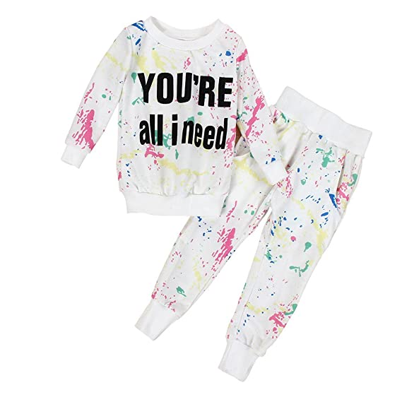 feiXIANG Ropa de bebé Niños Niñas Bebés Sudadera Imprimir Tops Mujer Camiseta de Manga Larga Traje de bebé Camisa de Moda + Pantalones Black Five Cyber ...