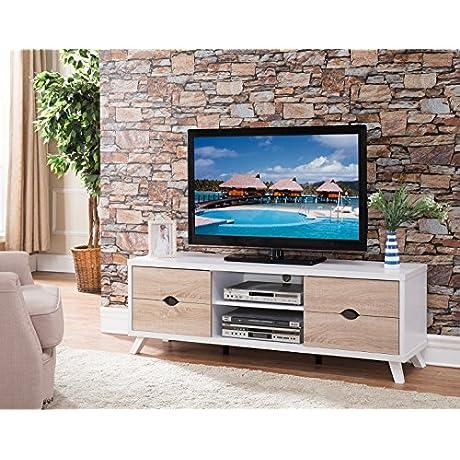 White Smart Home 60 TV Entertainment Center Console TV Stand