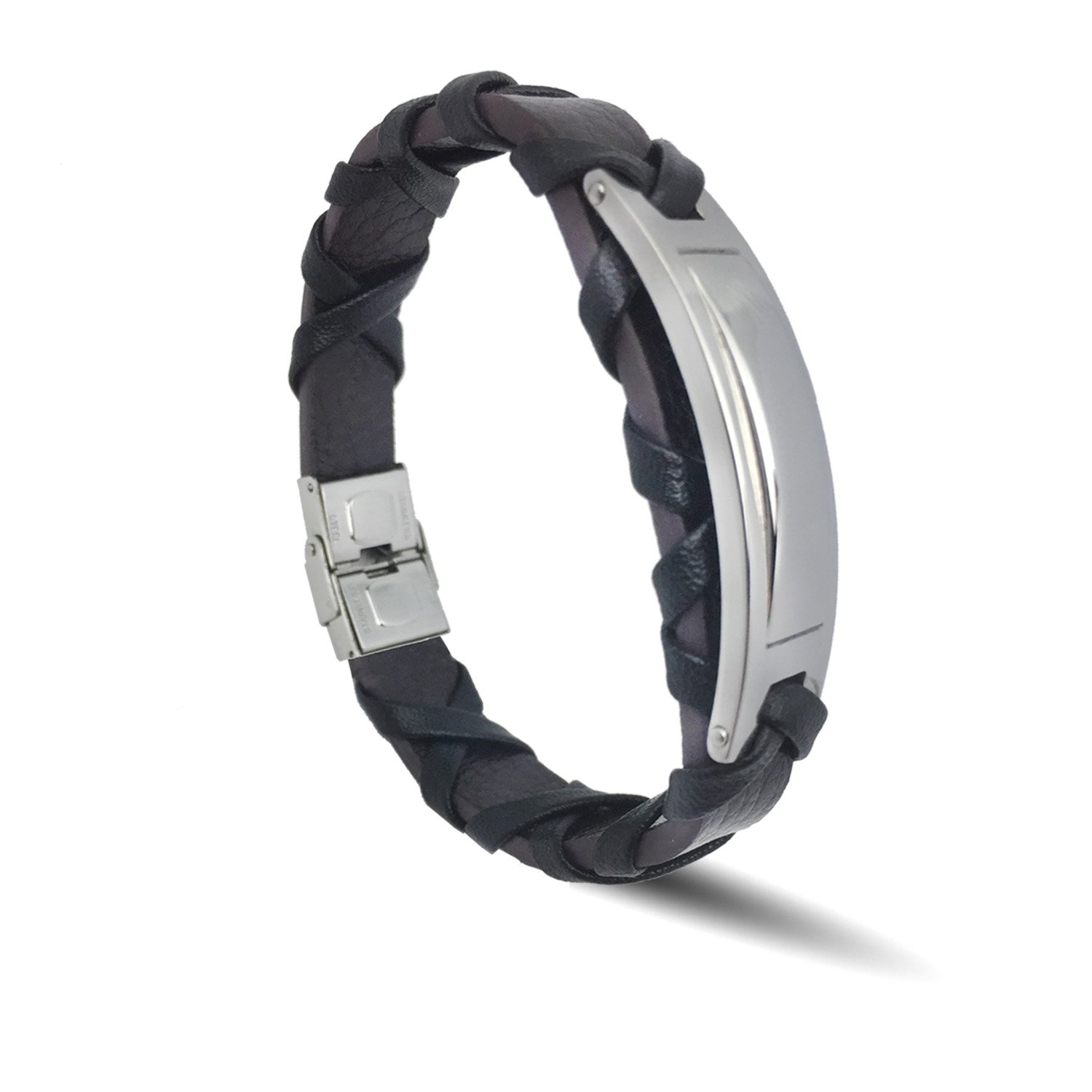 ZD-Jewelry Mens Leather Bracelet , Black leather Bracelets ,White stainless steel buckle,8.5 inch Ethnic Tribal Bracelets, Bracelet For men Leather Wristbands Fashion Accessories