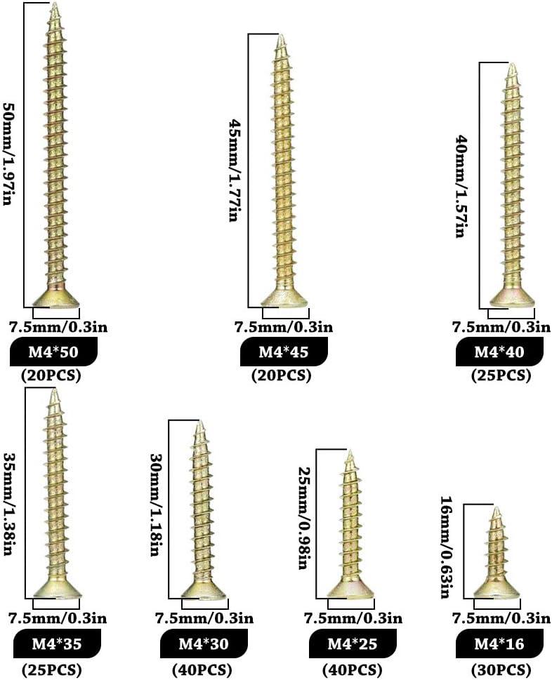 230 stck ORGRIMMAR Holzschraube Phillips Flachkopf Trockenbau Spanplattenschraube Pozi Drive Gelb Verzinkt Holz Innenausbau Metallschrauben Sortiment