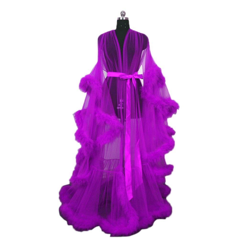 Feather Bridal Robe Tulle Illusion Long Wedding Scarf New Custom Made … (purple)