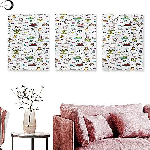 "Mannwarehouse Kids Digitally Printed Nautical Cartoon Elements Ships Flying Birds Buoy Starfishes Palm Trees and Bubbles Triptych Wall Art Multicolor W 12"" x L 24"" x3pcs"