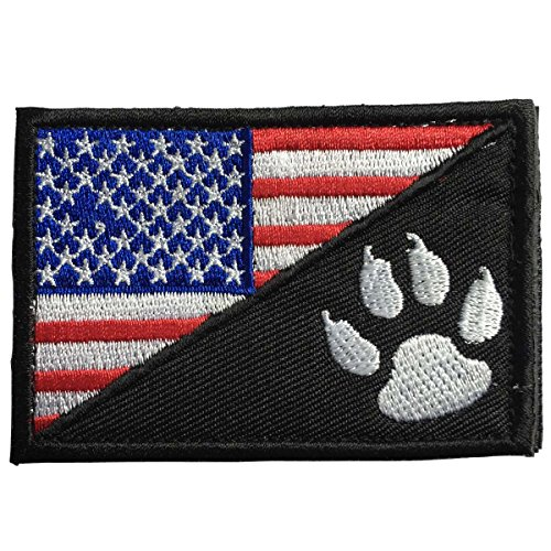 - SpaceAuto USA Flag & Service Dog Paw Tactical Morale Badge Patch - Red & White