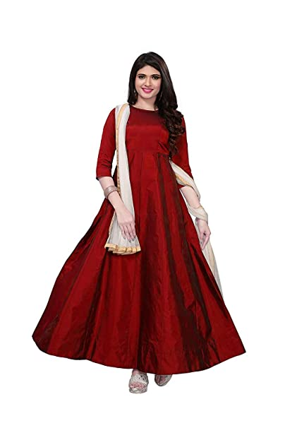 Radhe Enterprise long dresses for women western gowns with sleeve (Red Gown  Free Size Semi-Stitched)  Amazon.in  Clothing   Accessories 9b7278a89