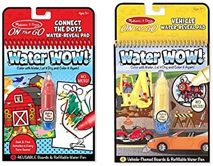 Reusable Water-Reveal Activity Pad Melissa /& Doug On the Go Water Wow Connect the Dots Farm