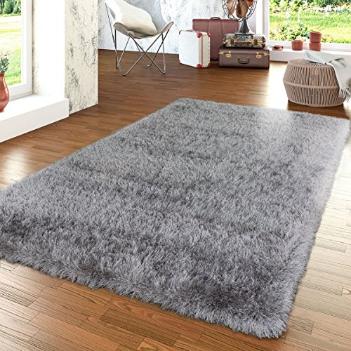 Paco Home Shag Rug High Pile in Grey for Bedroom & Living Room Fluffy Glossy Pastel Yarn, Size:6'7