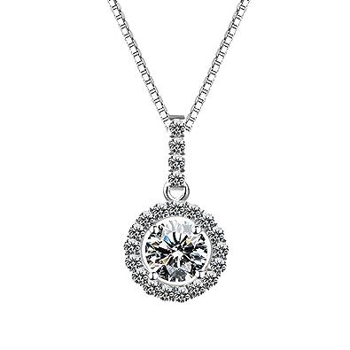 0b6f3308d8d0 Blisfille Gargantillas Bisuteria Oro Collar Bisuteria Mujer Collar Plata de  Ley 925 Collar de Diamante Redondo