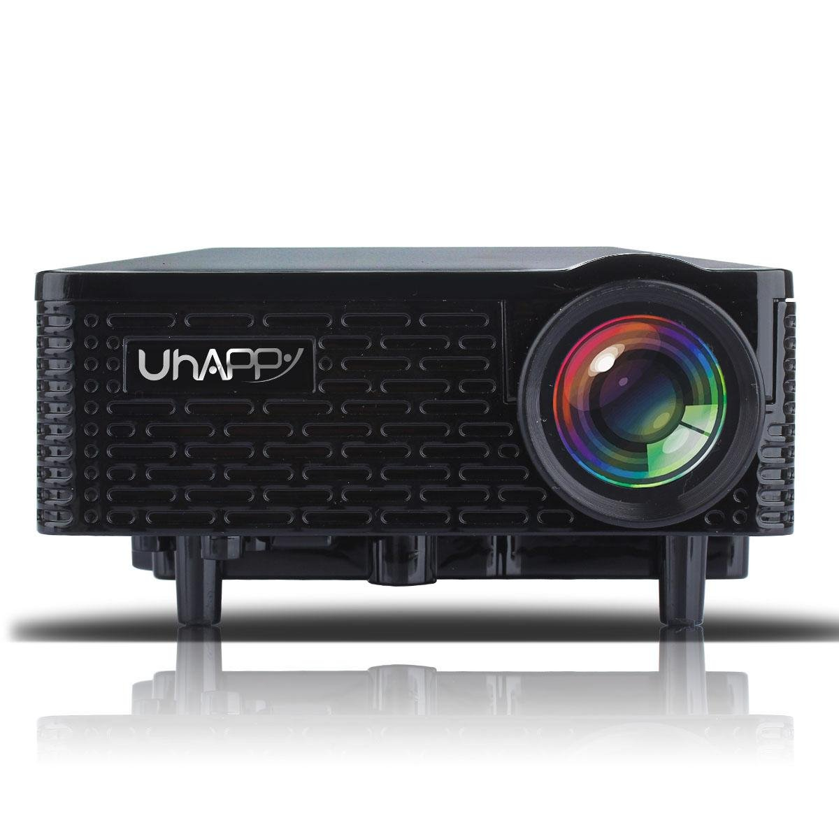 UHAPPY Mini portable projector can be used for iphone/ipad , black