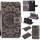 Aipyy Huawei Y6 Pro/Enjoy 5 Case,[Card Slot] Wallet Style Folio Flip PU Leather Emboss Sunflower Case Magnetic Closure Kickstand Cover with Wrist Strap for Huawei Y6 Pro/Enjoy 5 (5.0'') [Grey]