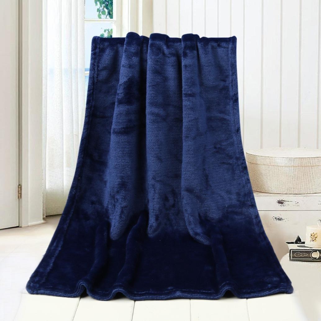 WensLTD 50X70CM Fashion Solid Soft Throw Kids Blanket Warm Coral Plaid Blankets Flannel (Blue)