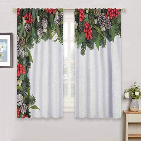Amazon Com Dimica Fabric Curtain Christmas Winter Frame With Holly Ivy Mistletoe Spruce Fir And Pine Cones Arrangement Image Home Decor Sliding Door Curtains W72 X L72 Inch Multicolor Home Kitchen