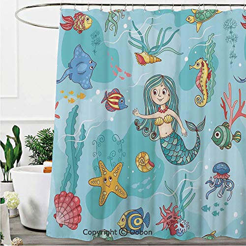 (Oobon Shower Curtains, Pattern with Mermaid Wildlife Tropical Jellyfish Goldfish Cheering Turtle Seahorse, Fabric Bathroom Decor Set with Hooks, 72 x 84 Inches)