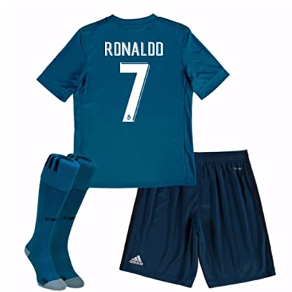 buy popular 4f4e4 7c21d Amazon.com : UKSoccershop 2017-18 Real Madrid Third Mini Kit ...