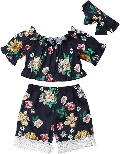 Infant Girls Ruffled Crop Tops Suspender Short Set Baby Girls Summer Tops Floral Shorts Clothes Set