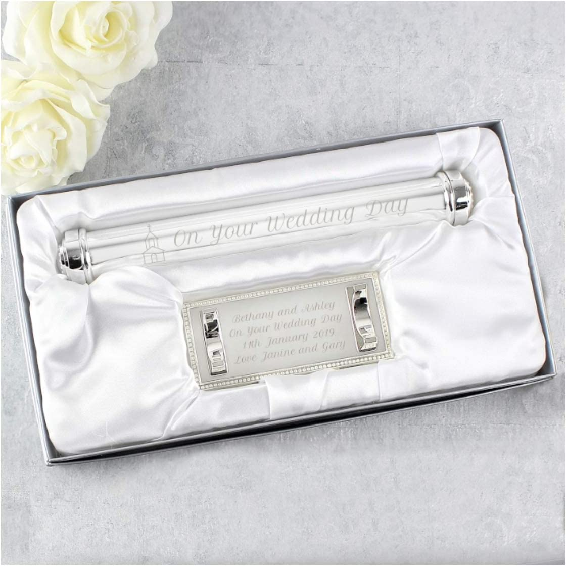 Enter Your Custom Engraving. Personalised Silver Plated Marriage//Wedding Certificate Holder