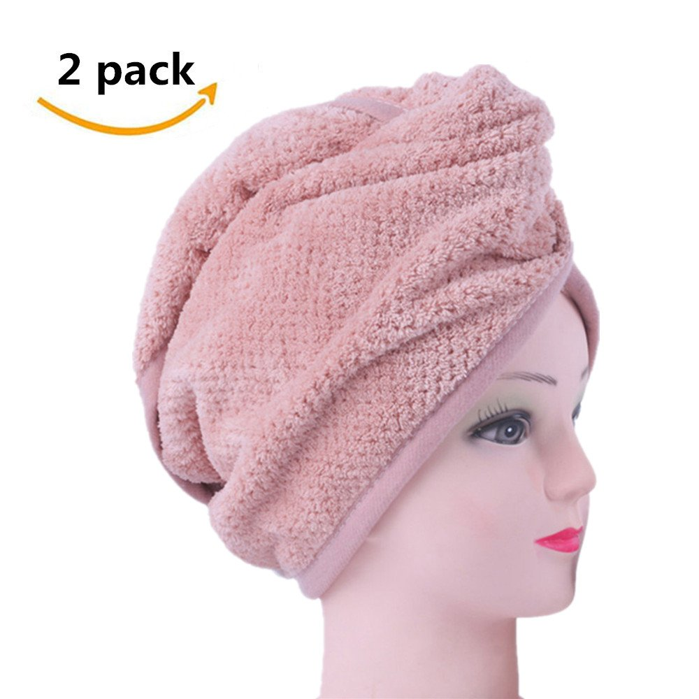 Hair Towels Dry Fast Microfiber Super Absorbent Hair Towel Wrap Turban for Women Long Hair, Pink-2 Pack