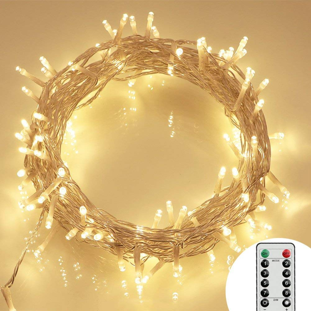 [Remote and Timer] 36ft 100 LED Outdoor Battery Fairy Lights (8 Modes, Dimmable, IP65 Waterproof, Warm White) by Koopower