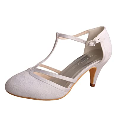 5f11594e1d Wedopus MW621 Women's Closed Toe Kitten Heels Lace T-Strap Wedding Bridal  Court Shoes