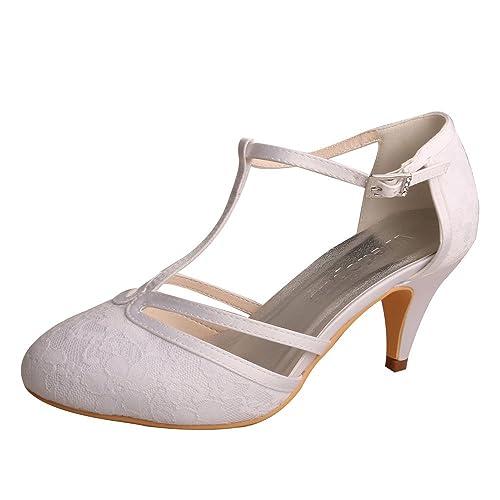 31202a886c9 Wedopus MW621 Women's Closed Toe Kitten Heels Lace T-Strap Wedding Bridal  Court Shoes