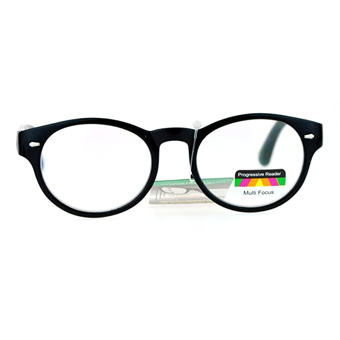 345e1fbdfedd SA106 Oval Horn Rim Multi 3 Focus Progressive Reading Glasses Black 1.0