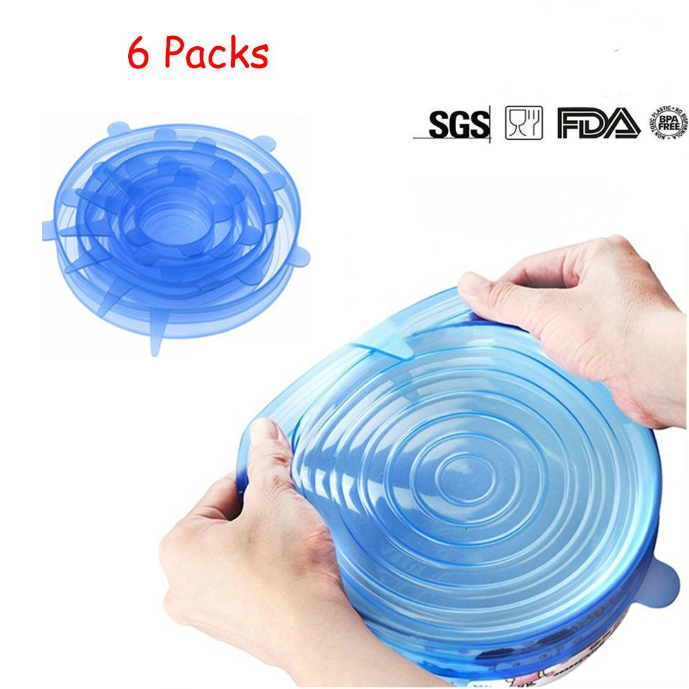 db Stretch Silicone lids, Silicone Suction Lids, New Seller Big Sale, Eco-friendly Reusable durable fresh cover,6 pack various sizes.
