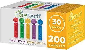 Care Touch Multi Colored Twist Top Lancets 30 Gauge, 200 Lancets