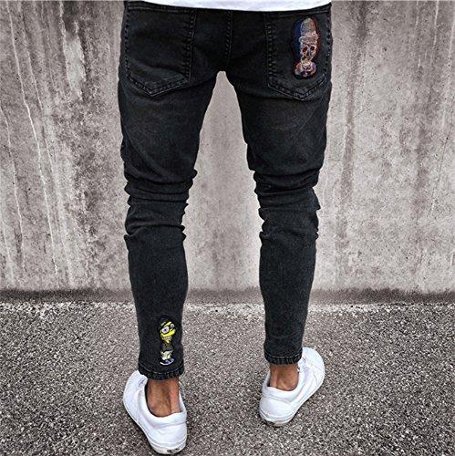nero Nero Pantaloni Huateng Elasticizzati Uomo Da Aderenti Strappati Jeans 8dwdqS0