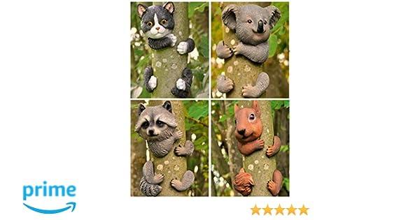 Garden Mile® - Decoración para árbol de jardín, elemento decorativo con diseño de animal agarrado a un árbol, esculturas para jardín, decoración del hogar: ...