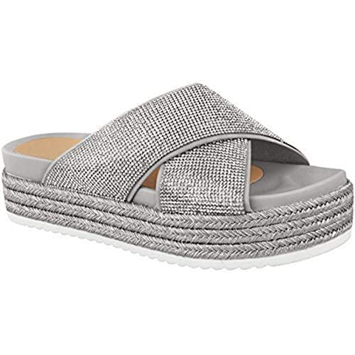 8a4fd983d964d Fashion Thirsty Sandales à Enfiler - Semelle Compensée Plate Pour L Été - à  Strass - Femme  Amazon.fr  Chaussures et Sacs