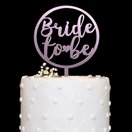 rose gold bride to be acrylic cake topper mirror for bridal shower wedding engagement