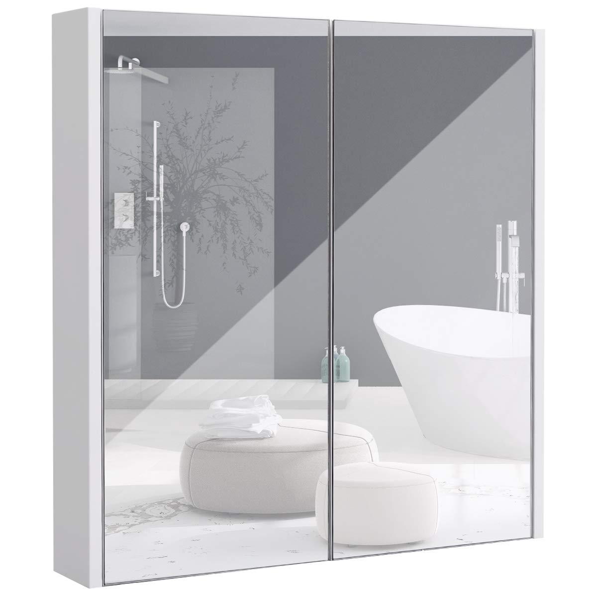 COSTWAY Spiegelschrank Badezimmer, Badezimmerspiegel mit verstellbaren Ablagen, Badezimmerspiegelschrank weiß, Wandschrank mit Spiegel, Hängeschrank 62x11x65cm