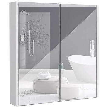 COSTWAY Spiegelschrank Badezimmer, Badezimmerspiegel mit ...