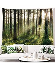 """PROCIDA Tapestry Wall Hanging Nature Art Polyester Fabric Tree Theme, Wall Decor for Dorm Room, Bedroom, Living Room, Nail Included (90""""W x 60""""L (230cmx150cm), Sunlight Forest)"""