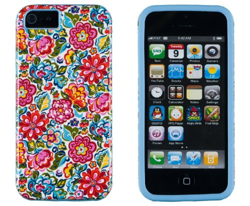 DandyCase 2in1 Hybrid High Impact Hard Clolorful Blooming Flowers Pattern + Sky Blue Silicone Case Cover For Apple iPhone 5S & iPhone 5 (not 5C) + DandyCase Screen Cleaner