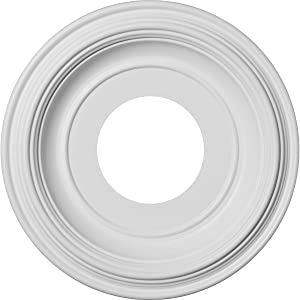 """Ekena Millwork CMP10TR Traditional Thermoformed PVC Ceiling Medallion, 10""""OD x 3""""ID x 1 1/8""""P (Fits Canopies up to 5 1/2""""), White"""