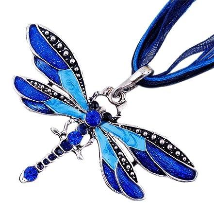 ZiZi Tanzanite Blue ~ Enamel Dragonfly Necklace ~ Swarovski Crystal Elements ~ Comes Presented in a ZiZi Gift Box qZgPEssL9E