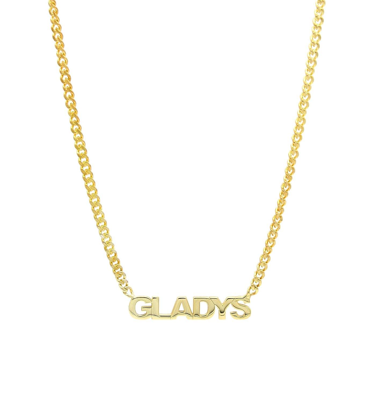 Collar con nombre - Collar con nombre - Collar personalizado - Collar con gargantilla King de cadena bordillo