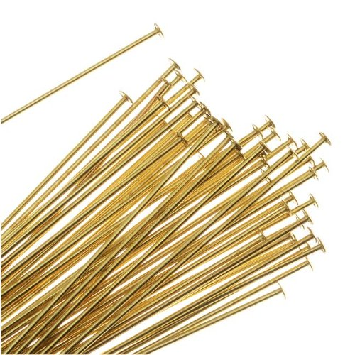 Beadaholique Head Pins, 2 Inches Long and 22 Gauge Thick, 50 Pieces, Gold Tone Brass
