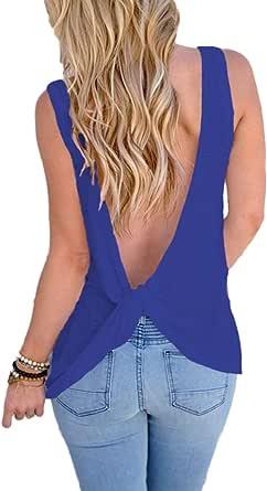 YACUN Camiseta De Verano Sin Espalda con Anudado Y Espalda Descubierta para Mujer
