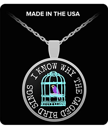 Amazoncom Intomyz Pendant Necklace With Chain Caged Bird Maya