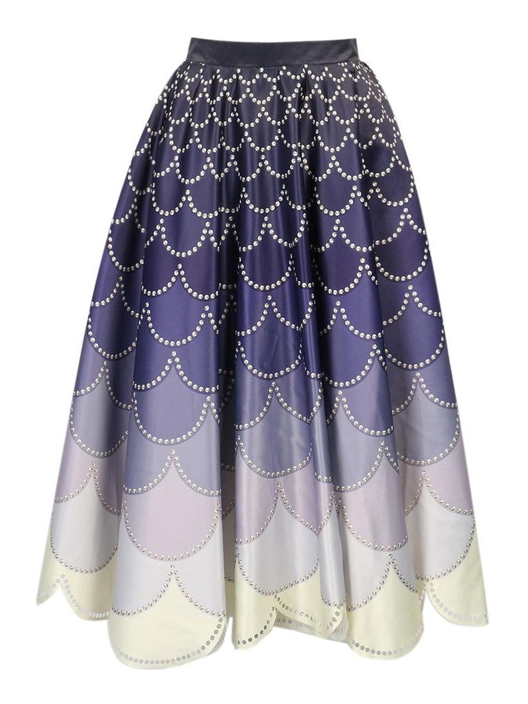Persun Women's Purple Mermaid Print High Waist Pleated Midi Skirt ...