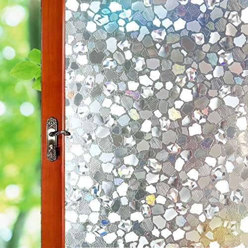Frosted Gravel - Non-Ahesive Window Film Decorative, 3D Reflective Window Decal/Privacy Protection/Heat Control/Anti UV, Stained Glass Static Cling Home/Office, 35.5x78.7inch Gravel
