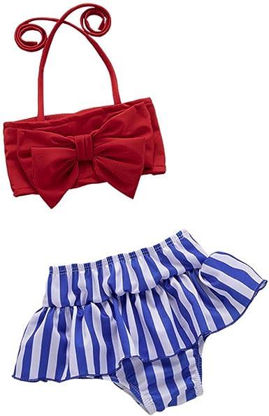 Toddler Kids Baby Girls Bowknot Straps Dress Bikini Swimsuit Bathing Suit Swimwear Shorts Headband Outfit Set