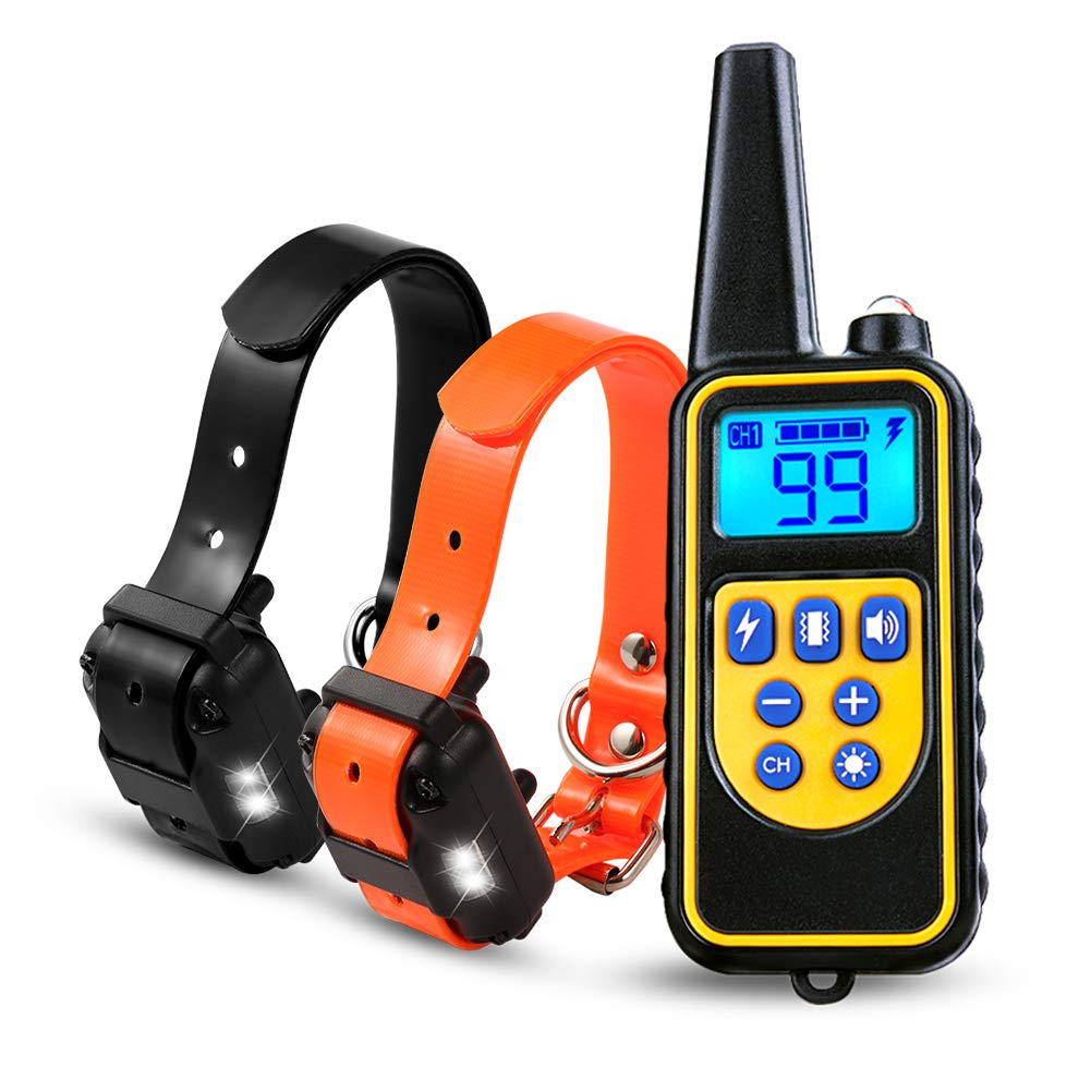 Highwinner Dog Training Collar, Anti Bark Collar with 875 Yards Remote, Waterproof Rechargeable Dog Shock Collar with Beep Vibration Static Shock for Small Medium Large Dogs (for 2 dogs)